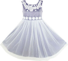 Girls Dress Sleeveless Embroidered Floral Tulle Overlay Grey Age 7-14