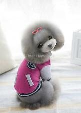 Small Pet Cat Dog Puppy Baseball Coat Uniform Clothes Hoodie Jacket Warm Apparel