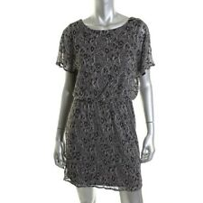 SL Fashions Silver Metallic Floral Lace Mini Party Cocktail Dress Petites - NEW