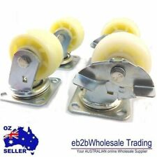 4P SET Heavy Duty Nylon Castor Caster Wheel w Ball Bearing Swivel Fixed or Brake