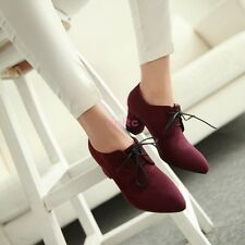 New Korean Faux Suede Oxfords Lace Up Cuban Heel Leisure Womens Pumps Shoes En54