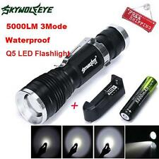 5000LM 3Mode CREE Q5 LED Flashlight Torch + 18650 Rechargable  Battery + Charger