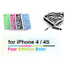 For Apple iPhone4 4S Zebra Hybrid Impact Combo Hard Soft Case Cover + Free Film