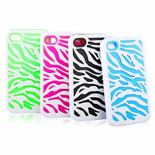 For Apple iPhone4 4S Zebra Hybrid Impact Combo Hard Soft Case Cover +Stylus Pen