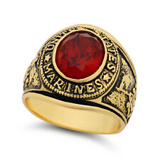 Large 15mm 14k Gold Plated Simulated Ruby Red CZ Military Style Ring