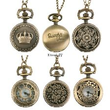 New Antique Vintage Bronze Tone Pendant Pocket Quartz Watch Chain Necklace EA77