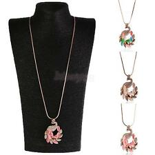 Exquisite Simulated Cat's Eye Zircon Peacock Dangle Long Sweater Necklace
