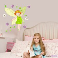 WALL TATTOO Fairy girl with flowers for the Nursery Elf Fairy Wall stickers