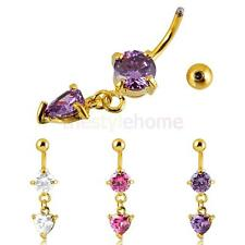 Belly Heart Crystal Dangly Button Bar Navel Ring Body Piercing Jewelry
