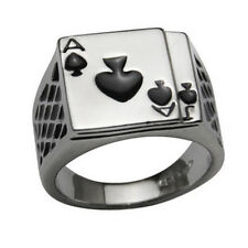Men'S 18K White Gold Plated Cool Enamel Spades Poker Ring Finger Jewelry Pretty