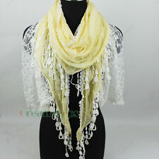 Women Stitching Hollow Out Lace Trim Tassel Sequins 2Layer Long Scarf Shawl Wrap