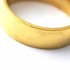Unisex stainless steel wedding ring Smooth Gold Filled Band Ring size 7-11