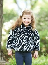 Mud Pie Baby Girl Wild Child Collection Zebra Print Faux Fur Coat Jacket New