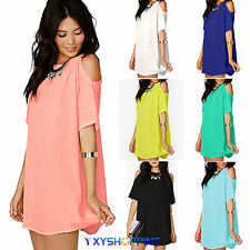 Plus Size Womens Blouse Short Cocktail Chiffon Shirt Sexy Dress Tops 12 14 16