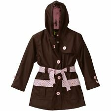Western Chief Kids Girls Raincoat Frenchy French Too Hood Brown Pink Dot Jacket