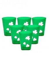 6 x St Patricks Day Green Shot Glasses Shamrock Clover Irish Ireland Paddy Party