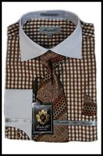 Fratello Brown Gingham Plaid White Spread Collar French Cuffs Dress Shirt,Tie