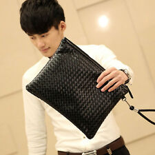 Men PU Leather Clutch Bag Black Leisure Envelope Business Fashion Weaving Pack