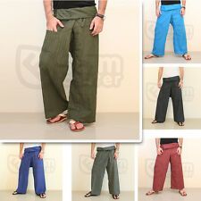Thai Cotton Fisherman Yoga Wrap Pants Wide Leg Bangkok Long Fold Over Trousers