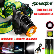 5000LM CREE XM-L T6 LED Headlamp Head Light + 2x Rechargeable USB Battery Hot