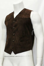 Mens Gents Party Fashion Classic Designer Brown Italian Suede Leather Waistcoat