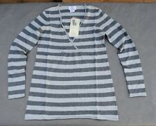 NWT $56 Oh Baby by Motherhood Gray Striped Surplice Sweater  4 Sizes S M L XL