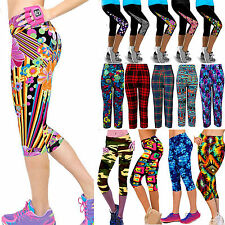 Womens Floral 3/4 Length Stretchy Cropped Leggings Yoga Gym Sport Pants Trousers