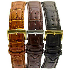 Padded Croc Grain Genuine Leather Watch Band Strap 18mm 20mm 22mm Choose Color