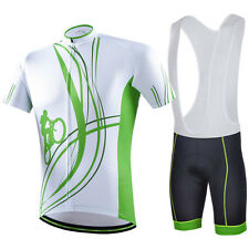 Green Line Men Cycling Clothes Set Mtb Bike Bicycle Jerseys and (Bib) Shorts Kit