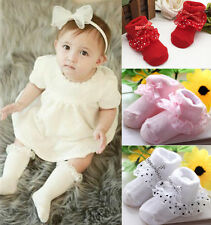 New Hot Cotton Dots Bowknot Princess Lace Socks Ankle Socks Toddler Baby Girls