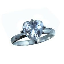 1ct Cubic Zirconia Heart Shape, Pure .925 Sterling Silver Ring Size 5,6,7,8,9,10