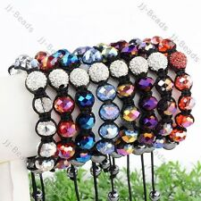 "Crystal Glass Faceted Hematite Bead Dangle Macrame Braided Woven Bracelet 7-11""L"