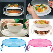 Dish Round Plate Holder Double Layer Microwave Oven Bowl Rack Steam Tray Cover