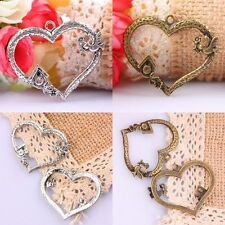 10Pcs Tibetan Silver/Bronze Heart Dove Bird Flower Floral Charms Pendants Beads