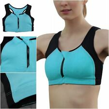 Women Workout Tank Top Sports Bra Gym Yoga Fitness Racerback Padded Front Zipper