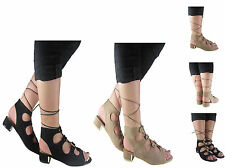 LADIES WOMENS LOW BLOCK HEEL LACE UP FASHION SUMMER SANDAL ANKLE SHOES SIZE 3-8