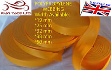 YELLOW 20 25 32 38 50mm POLYPROPYLENE WEBBING STRAPPING, BAGS, STRAPS, WEAVE