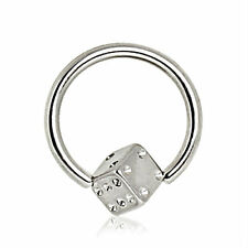 Dice Captive Bead Ring Nipple Eyebrow Ear Stainless Steel 14g, 16g Body Jewelry