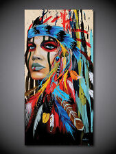 Modern Hand Painted Abstract Oil Painting on Canvas Indian Woman 20x40inch
