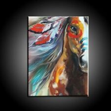 HandPainted Modern Abstract Oil Painting on Canvas Indian Color Horse 60x80inch