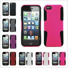 Armor Hybrid Mesh Soft Silicone Hard Tuff Shell Case Cover For Apple iPhone 5 5S