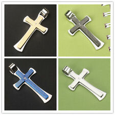 Mens Double Layer Titanium Steel Cross Bible Scripture Pendant for necklace gift
