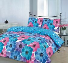 New Sophia Pink Blue Duvet Quilt Cover Bedding Set Single Double King Super King