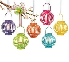 Bright Painted Outdoor Garden Candle Lantern w/ Glass Tealight Candle Holder Set