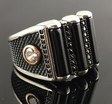 Unique.925 Sterling Silver Black Onyx & Cubic Zircon Stones Men`s Ring -US - K9A