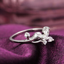 Gorgeous White Gold Plated Butterfly For Womens Engagement Solitaire Rings 2mm