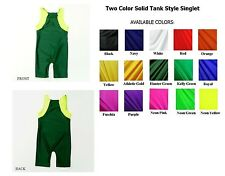 ADULT SOLID TWO-COLOR TANK STYLE WRESTLING SINGLET SIZE XS, S, M, L NWOT