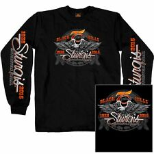 2015 Sturgis Motorcycle Rally Downwing Eagle Black Long  Sleeve shirt