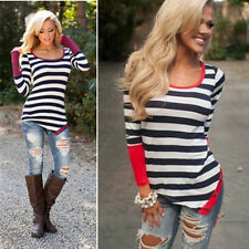 Fashion Women Neck Top Long Sleeve Crew Sexy Striped Blouse Casual T-Shirt Loose