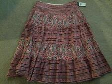 Chaps Denim NEW skirt size 6 OR 16 red white floral cotton peasant boho NWT